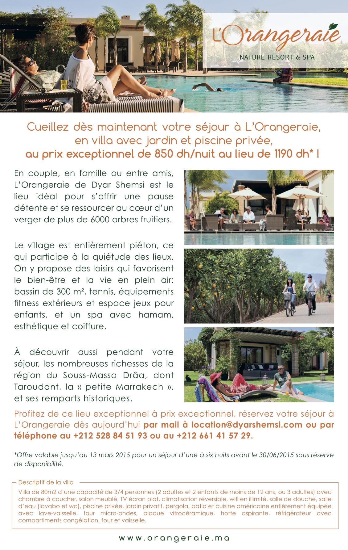 Séjour à l'Orangeraie de Dyar Shemsi à un prix exceptionnel !